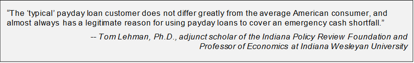 Quote regarding payday loan customers