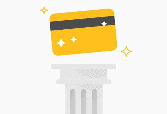 credit card on pedestal
