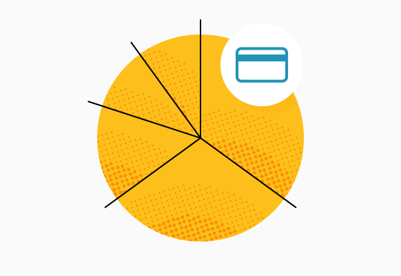 credit card with pie chart