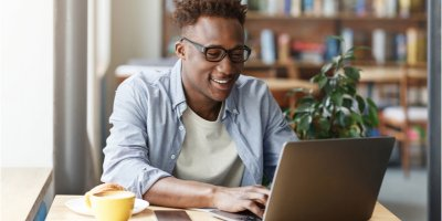 Man researching credit scores online